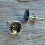studs. oxidised etched silver, 18ct gold