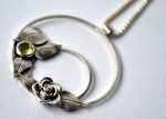 Hand made contemporary silver jewellery: rose garden pendant in sterling silver with peridot gemstone
