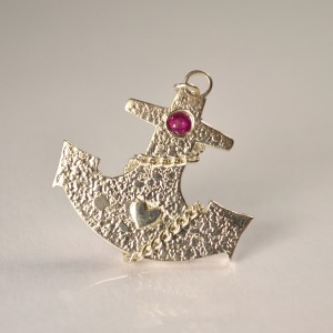 Sterling silver and ruby anchor brooch - handmade commission by Annie Coombs Jewellery, Pembrokeshire