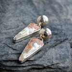 hand made sterling silver earrings with ocean jasper