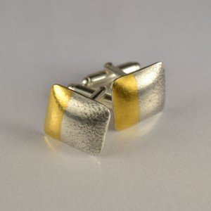 Contemporary hand made sterling silver jewellery: cufflinks with fused gold by Annie Coombs