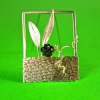 Contemporary handmade silver brooch: In the Garden Sterling Silver brooch with Black Onyx rose