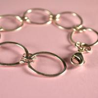Unique handmade jewellery: sterling silver bracelet:  Sterling Silver large link bracelet