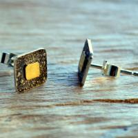 Unique handmade jewellery: sterling silver earrings: Square Sterling Silver textured stud earrings with 9ct Gold centres