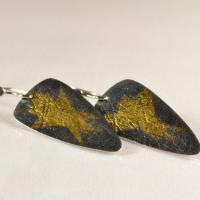 Contemporary handmade silver earrings: Textured and oxidised Sterling Silver drop earrings with fused 24ct Gold