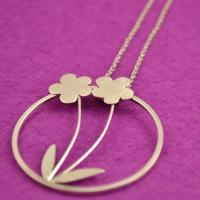 Handmade sterling silver pendant:  Sterling Silver pendant with Flowers and Leaves