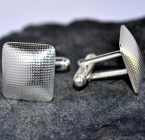 Handmade sterling silver cufflinks: Hollow form textured Stirling Silver Cufflinks