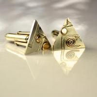 Unique handmade jewellery: sterling silver cufflinks:  Geometric Silver and gold cufflinks